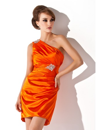 Sheath/Column One-Shoulder Short/Mini Charmeuse Cocktail Dress With Ruffle Beading