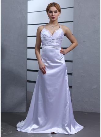 Empire V-neck Watteau Train Charmeuse Wedding Dress With Ruffle Lace Beading