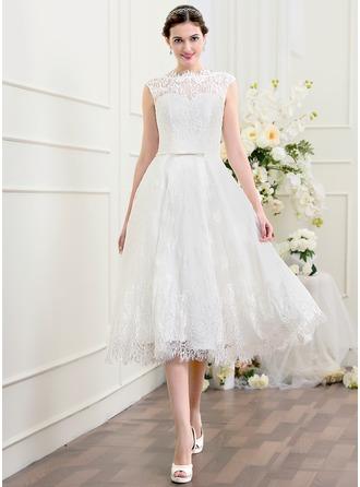 A-Line/Princess Scoop Neck Tea-Length Lace Wedding Dress With Bow(s)