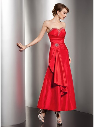 A-Line/Princess Sweetheart Ankle-Length Taffeta Holiday Dress With Beading Cascading Ruffles