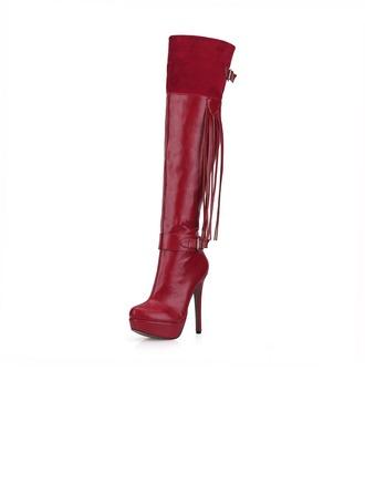 Femmes Suède Similicuir Talon stiletto Escarpins Plateforme Bout fermé Bottes Cuissardes avec Boucle Tassel chaussures