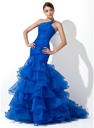 Trumpet/Mermaid One-Shoulder Sweep Train Organza Prom Dress With Beading Cascading Ruffles
