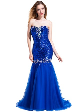 Trumpet/Mermaid Sweetheart Sweep Train Tulle Sequined Prom Dress With Beading