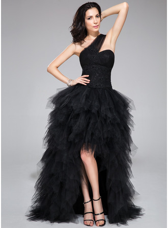 A-Line/Princess One-Shoulder Asymmetrical Tulle Prom Dress With Beading Appliques Lace Sequins Cascading Ruffles