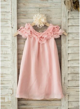 Forme Princesse Longueur genou Robes à Fleurs pour Filles - Mousseline de soie Manches courtes Col rond avec Fleur(s)