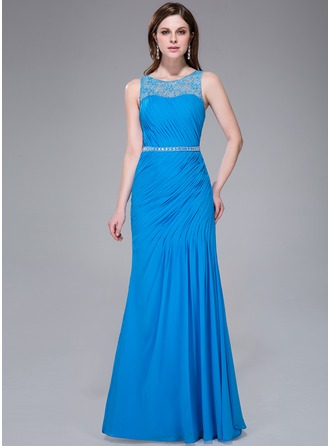 Trumpet/Mermaid Scoop Neck Floor-Length Chiffon Lace Evening Dress With Ruffle Lace Beading Sequins Split Front
