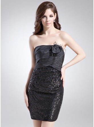 Sheath/Column Strapless Short/Mini Taffeta Sequined Cocktail Dress With Ruffle Feather Flower(s)