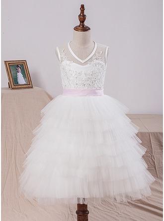 Corte A/Princesa Hasta la tibia Vestidos de Niña Florista - Satén/Tul/Encaje Sin mangas Escote en V con Fajas/Lazo(s)