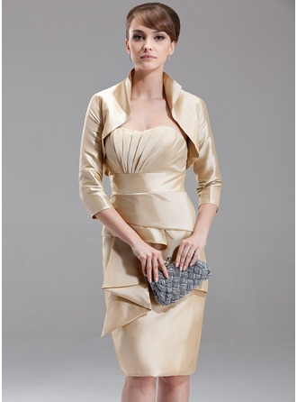 Sheath/Column Sweetheart Knee-Length Taffeta Mother of the Bride Dress With Cascading Ruffles