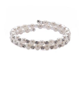 Jonc Perle avec Faux diamant Dames Bracelets