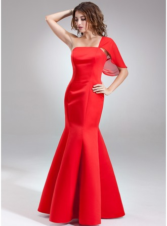 Trumpet/Mermaid One-Shoulder Floor-Length Satin Bridesmaid Dress