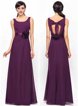 A-Line/Princess Scoop Neck Floor-Length Chiffon Bridesmaid Dress With Ruffle Flower(s)