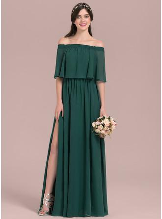 A-لاين أميرة خارج على الكتف الطول الأرضي الشيفون فستان وصيفة الشرف مع انقسام الجبهة