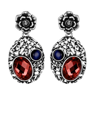 Classic Czech Stones/Silver Plated/Tin Alloy Earrings