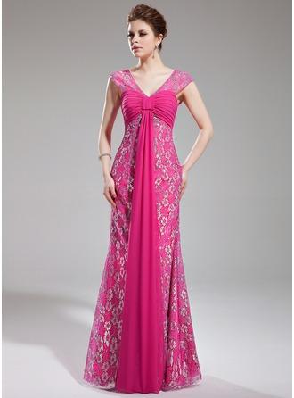 Sheath/Column V-neck Watteau Train Chiffon Lace Prom Dress With Ruffle Beading