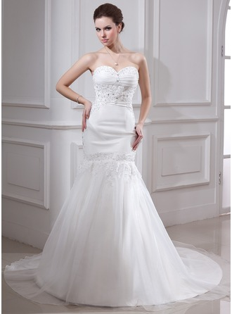 Trumpet/Mermaid Sweetheart Chapel Train Satin Organza Wedding Dress With Ruffle Lace Beading
