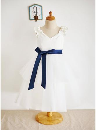Ball Gown Tea-length Flower Girl Dress - Satin/Tulle Sleeveless V-neck With Ruffles/Sash
