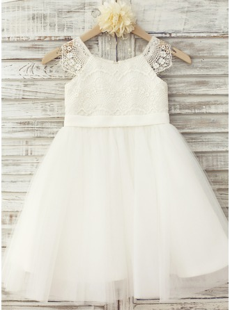 A-Line/Princess Knee-length Flower Girl Dress - Tulle/Lace Short Sleeves Scoop Neck With Appliques