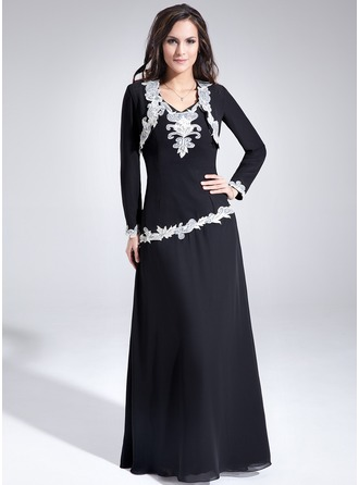 Corte A/Princesa Escote en V Vestido Chifón Vestido de madrina con Encaje
