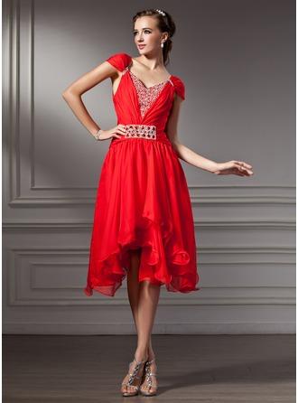 A-Line/Princess V-neck Asymmetrical Chiffon Homecoming Dress With Ruffle Beading