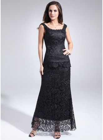 Sheath/Column Scoop Neck Ankle-Length Lace Mother of the Bride Dress