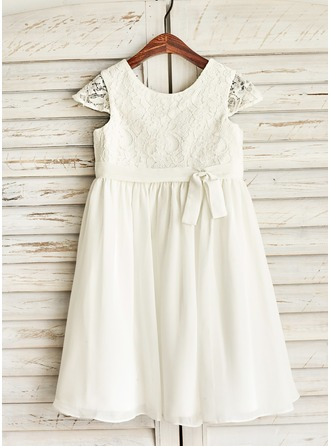 A-Line/Princess Knee-length Flower Girl Dress - Chiffon Short Sleeves Scoop Neck With Bow(s)