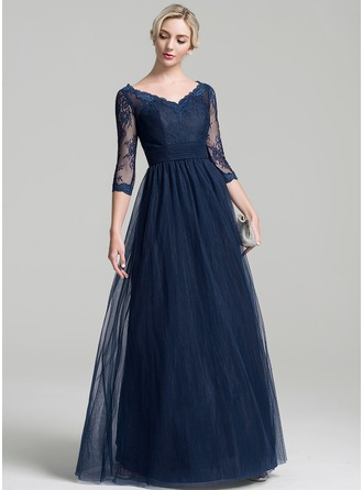 A-Line/Princess V-neck Floor-Length Tulle Mother of the Bride Dress With Ruffle