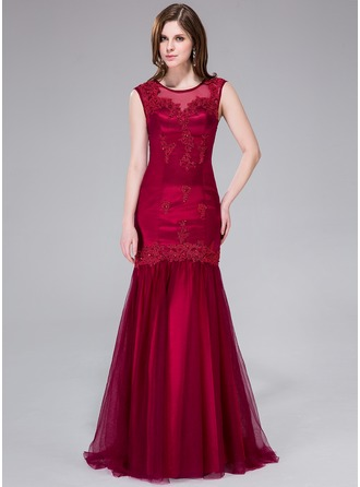 Trumpet/Mermaid Scoop Neck Sweep Train Tulle Evening Dress With Beading Appliques Lace Sequins