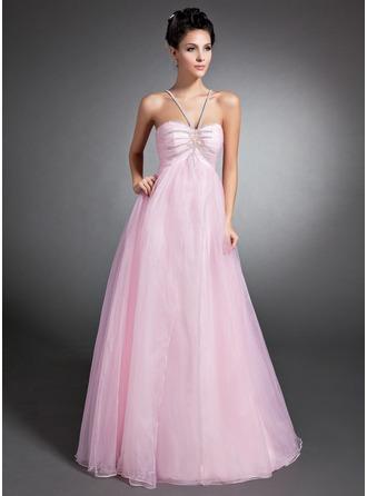 Empire-Linie V-Ausschnitt Bodenlang Organza Festliche Kleid mit Rüschen Perlen verziert
