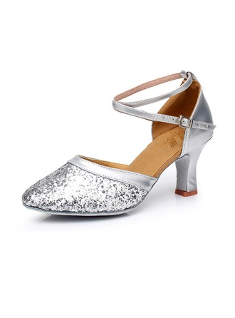 Femmes Similicuir Pailletes scintillantes Talons Latin Jazz Salle de bal Fête Tango avec Lanière de cheville Chaussures de danse