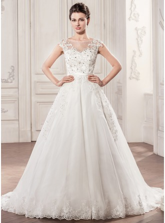 Ball-Gown Scoop Neck Chapel Train Satin Tulle Wedding Dress With Beading Appliques Lace Sequins Bow(s)
