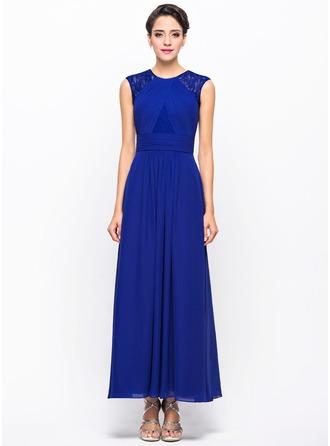 Vestidos princesa/ Formato A Decote redondo Longuete De chiffon Renda Vestido de festa com Pregueado