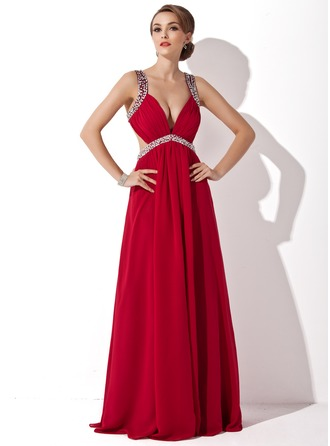 A-Line/Princess V-neck Floor-Length Chiffon Holiday Dress With Ruffle Beading Sequins Split Front