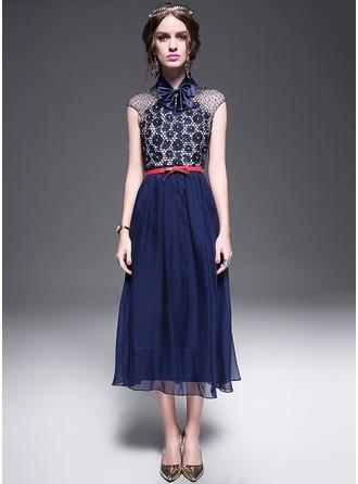 poliéster/De seda con Costura Maxi Vestido