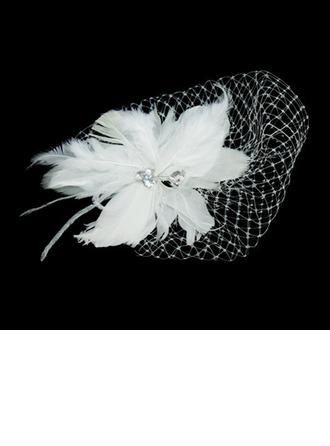 Magnifique Feather/Tulle Chapeaux de type fascinator avec Strass
