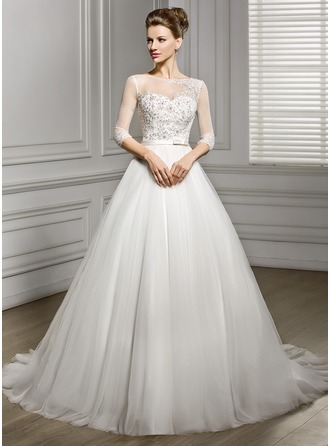 A-Line/Princess Scoop Neck Court Train Satin Tulle Wedding Dress With Beading Appliques Lace Sequins Bow(s)