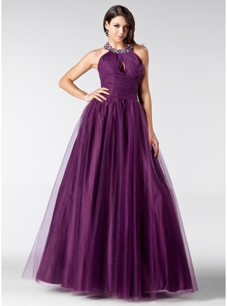 A-Line/Princess Halter Floor-Length Tulle Quinceanera Dress With Ruffle Beading