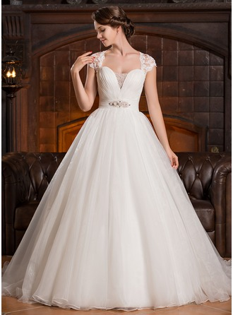 Ball-Gown Sweetheart Court Train Organza Tulle Lace Wedding Dress With Ruffle Beading Sequins