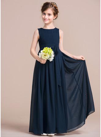 Empire Floor-length Flower Girl Dress - Chiffon Sleeveless Scoop Neck With Bow(s)