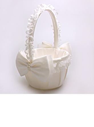 Pur Panier à fleur à Satin & Dentelle avec Bow/De faux pearl