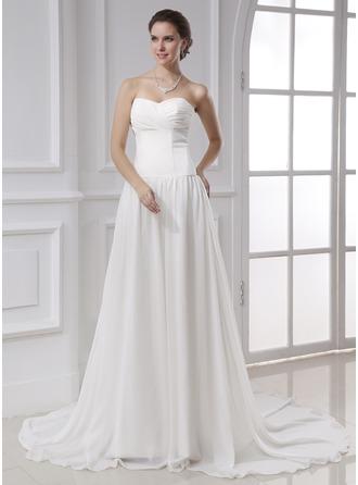 A-Line/Princess Sweetheart Chapel Train Chiffon Wedding Dress With Ruffle