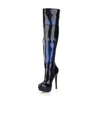 Femmes Cuir verni Talon stiletto Escarpins Plateforme Bout fermé Bottes Cuissardes avec Boucle Tassel chaussures
