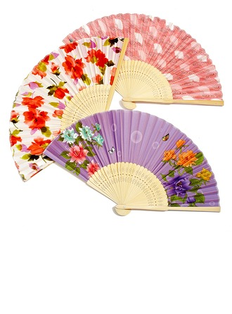 Conception Florale Bamboo/Soie Ventilateur à la main