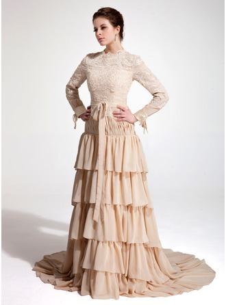 A-Line/Princess High Neck Court Train Chiffon Lace Evening Dress With Bow(s) Cascading Ruffles