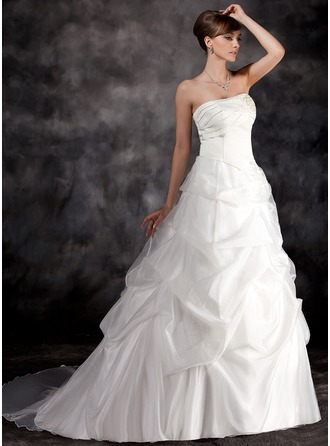 Ball-Gown Strapless Court Train Satin Organza Wedding Dress With Ruffle Beading