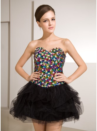 A-Line/Princess Sweetheart Short/Mini Tulle Sequined Cocktail Dress With Beading