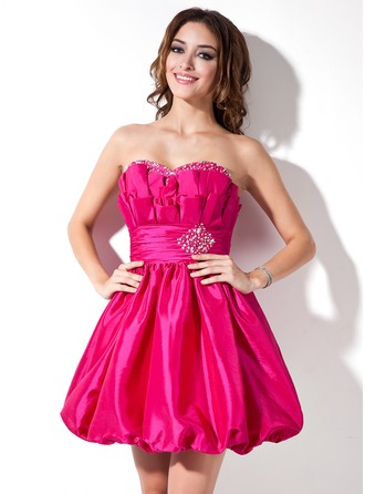 A-Line/Princess Sweetheart Short/Mini Taffeta Cocktail Dress With Ruffle Beading