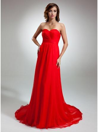 Vestidos princesa/ Formato A Coração Cauda de sereia De chiffon Vestido de festa com Pregueado
