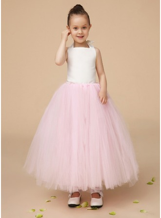 A-Line/Princess Halter Ankle-Length Charmeuse Tulle Flower Girl Dress With Bow(s)