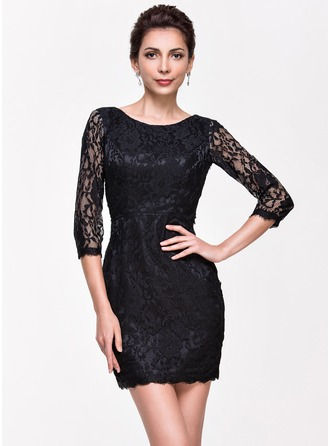 Sheath/Column Scoop Neck Short/Mini Lace Cocktail Dress
